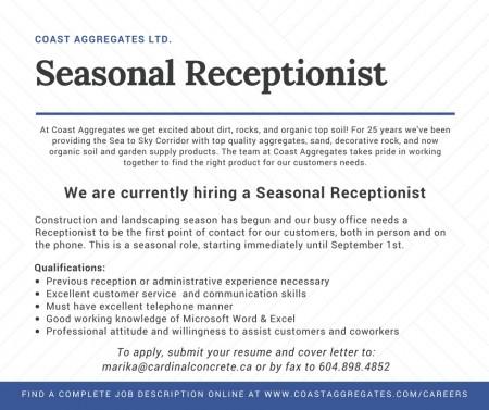 Coast Aggregates Squamish Seasonal Receptionist - Now Hiring